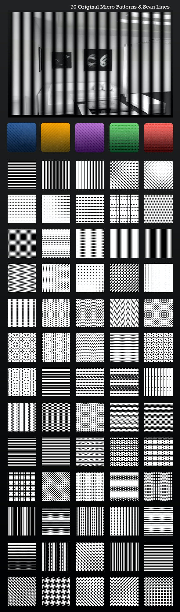 Ultimate ScanLines & Micro Patterns - 70 Pack - Textures / Fills / Patterns Photoshop