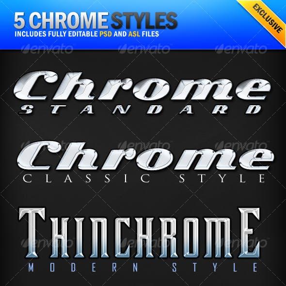 Chrome - 5 Clean Metallic Photoshop Styles
