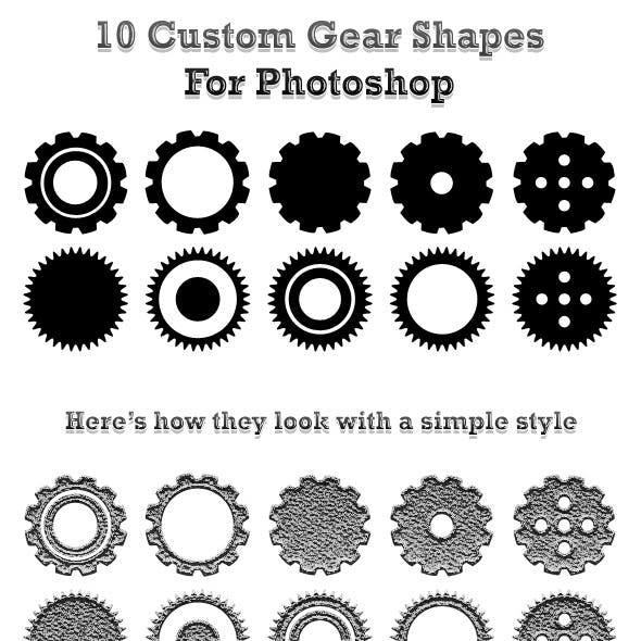 10 Custom Gear Shapes For Photoshop