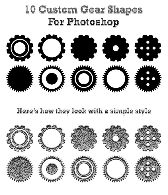 10 Custom Gear Shapes For Photoshop - Objects Shapes