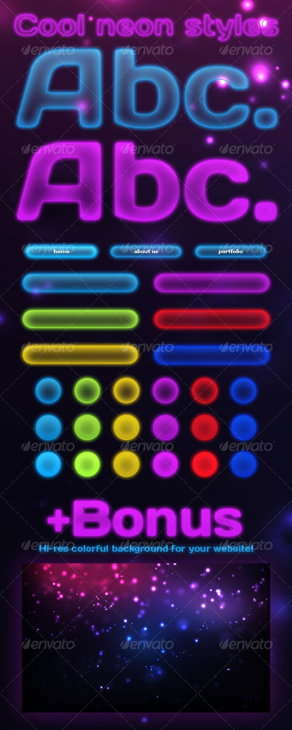 Elegant Neon Effects & Styles - Text Effects Styles