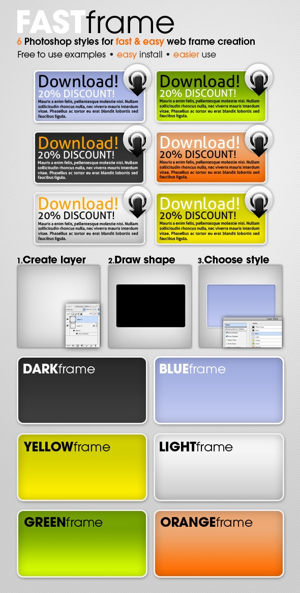FAST frame Photoshop styles - Text Effects Styles