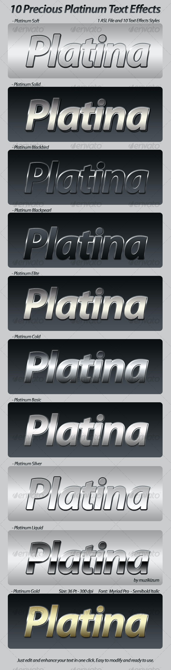Precious Platinum Photoshop Text Effects & Styles - Text Effects Styles