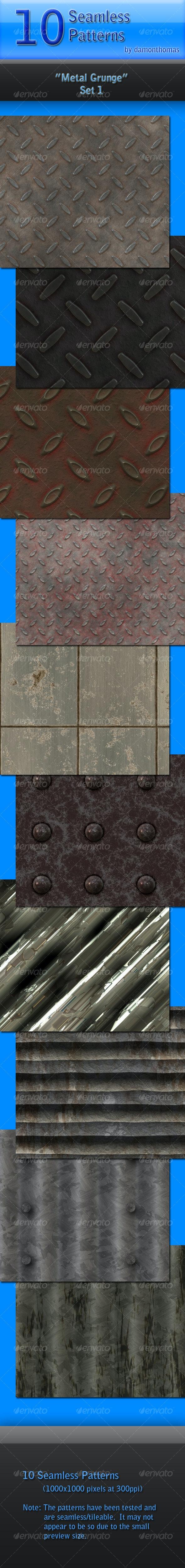"10 ""Metal Grunge"" Seamless Patterns - Textures / Fills / Patterns Photoshop"