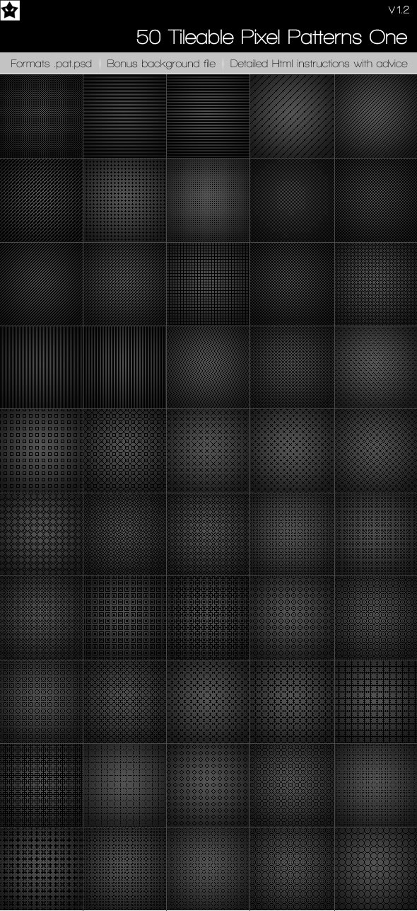 50 Tileable pixel Patterns - Photoshop Add-ons