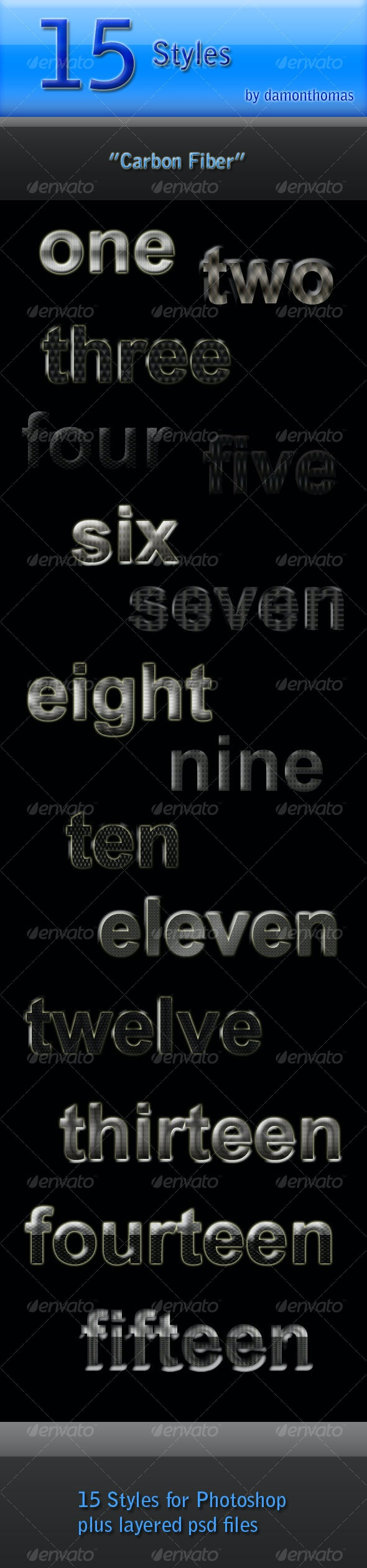 """15 """"Carbon Fiber"""" Styles - Text Effects Styles"""