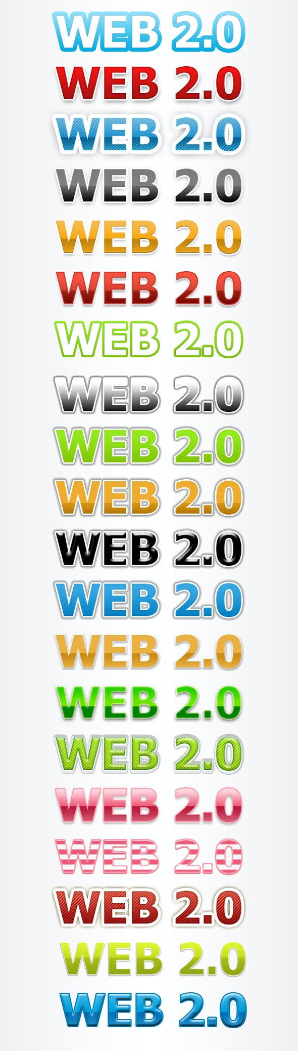 20 Pro Web 2.0 Text Styles - Text Effects Styles
