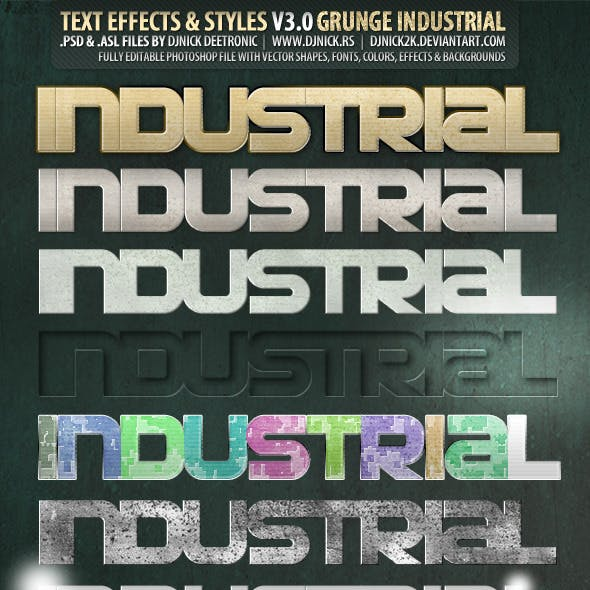 Grunge PSD text effects and styles by djnick