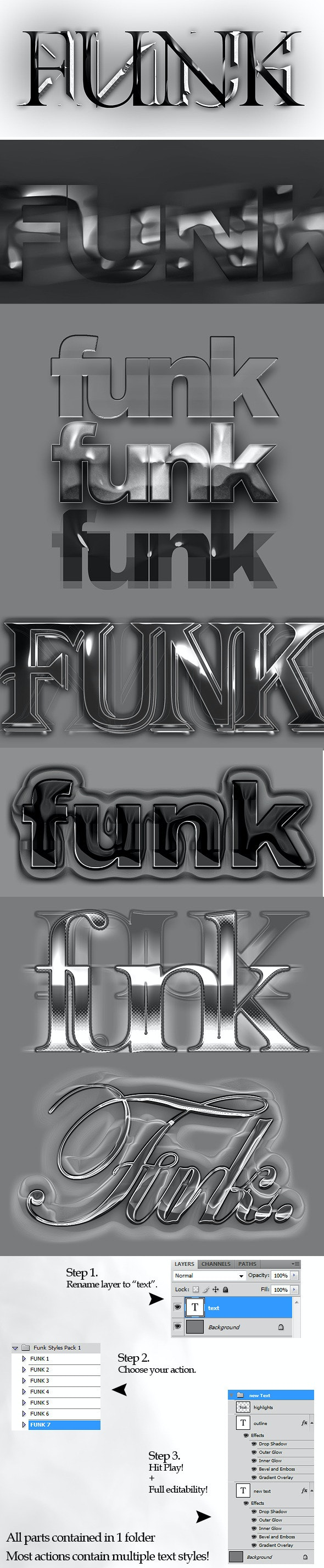 Funk Text Style Actions - Text Effects Actions