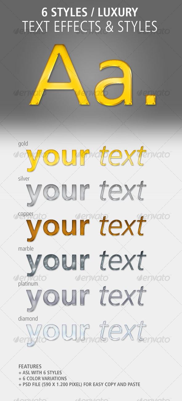 6 Text Effects and Styles: Luxury - Photoshop Add-ons