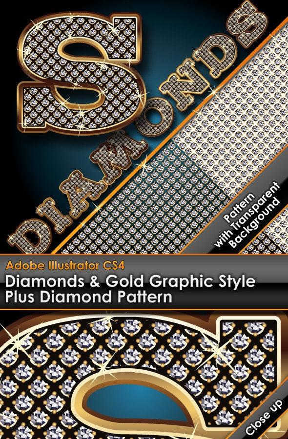 Diamonds & Gold Graphic Style Plus Diamond Pattern - Styles Illustrator