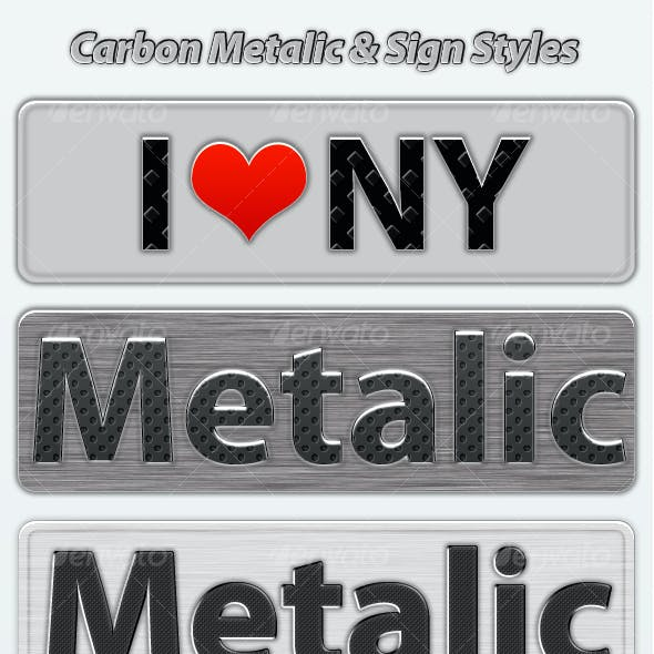 22 Carbon Metalic & Sign Photoshop Text Styles