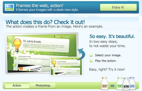 Frames the web. PS ACTION. - Utilities Actions