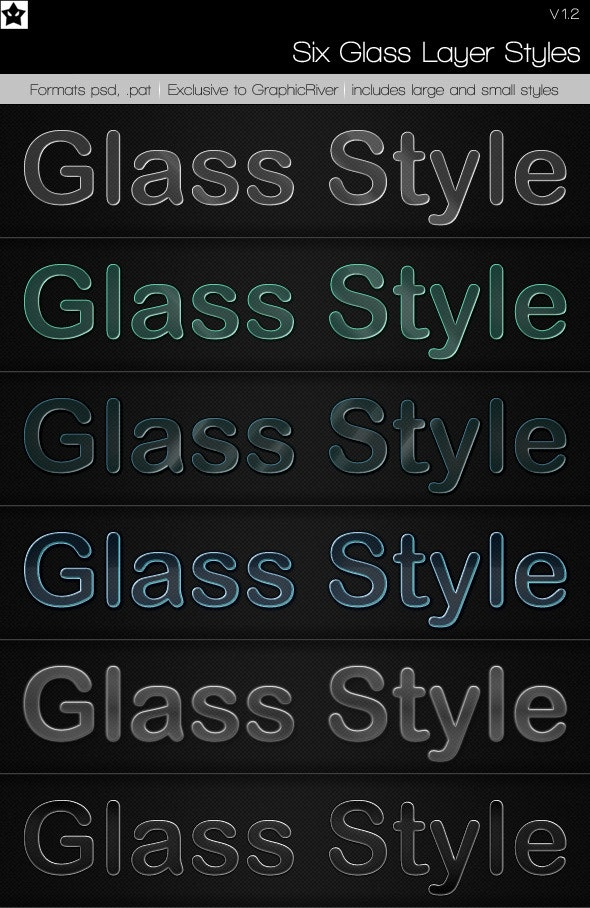 6 Glass Layer Styles + Bonus Styles - Text Effects Styles
