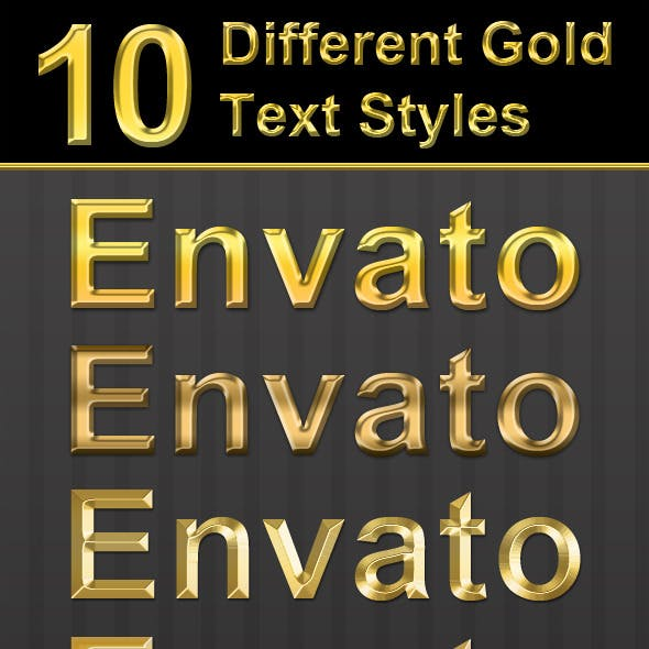 10 Different Gold Text Styles