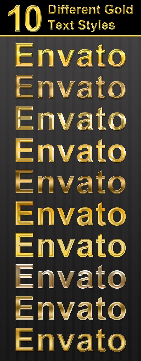 10 Different Gold Text Styles - Text Effects Styles