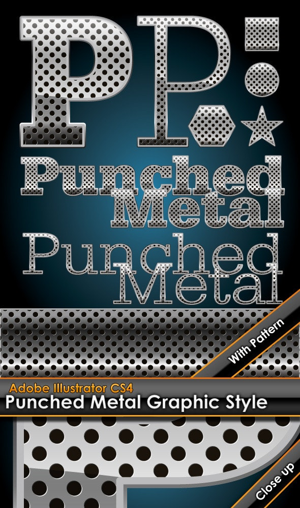 Hole Punched Metal Graphic Style plus bonus patter - Styles Illustrator