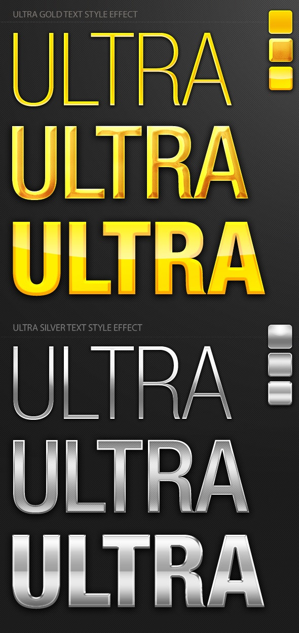 Ultra Gold and Silver Text Style Effect - Photoshop Add-ons