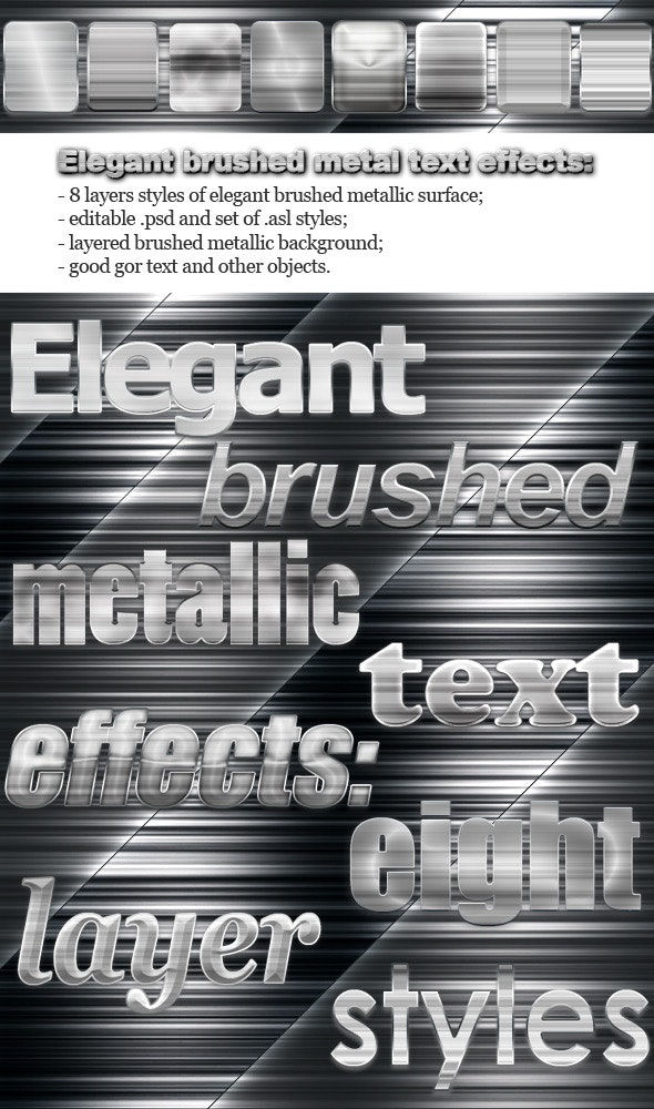 Elegant Brushed Metal Text Effects - Text Effects Styles