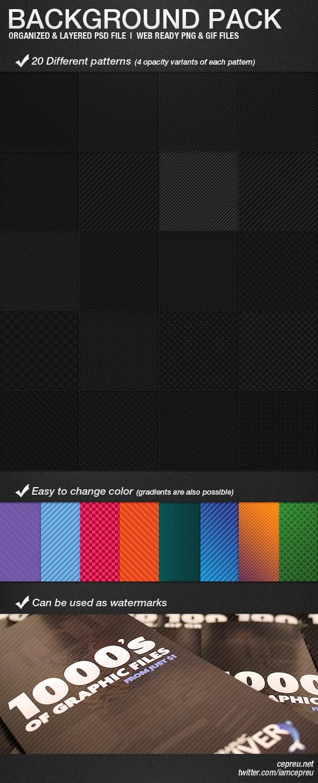 20 background pack, web patterns - Textures / Fills / Patterns Photoshop
