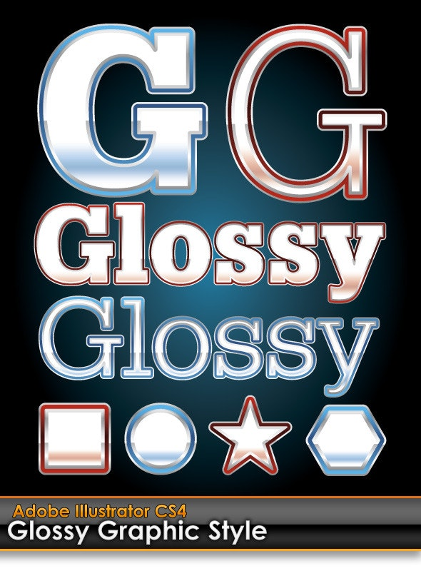 Glossy Illustrator Graphic Styles (Red & Blue)  - Styles Illustrator