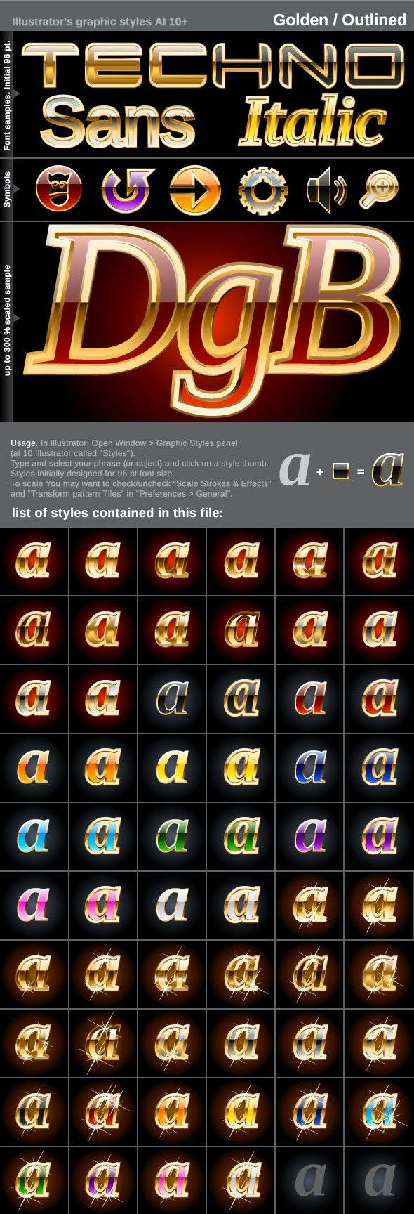 60 Illustrator Graphic Styles - Golden Outlined - Styles Illustrator