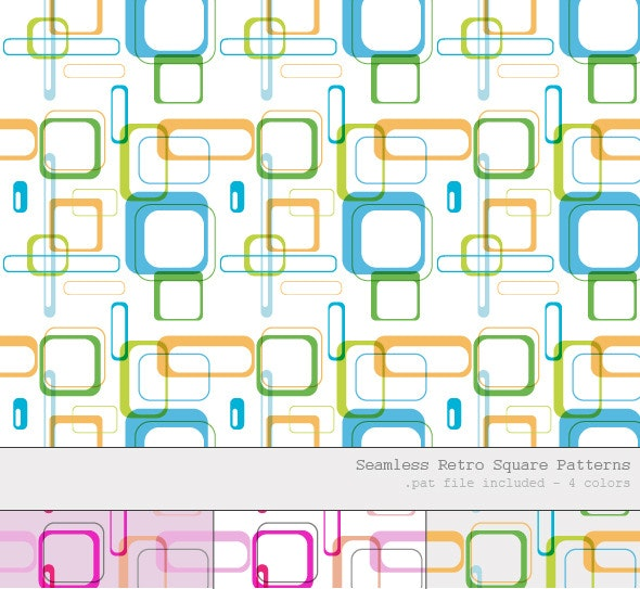 Seamless / Tileable Retro Square Patterns- 4 Color - Photoshop Add-ons