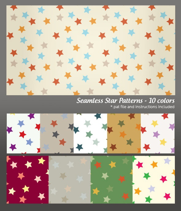 Seamless Star Background Pattern - 10 colors - Photoshop Add-ons
