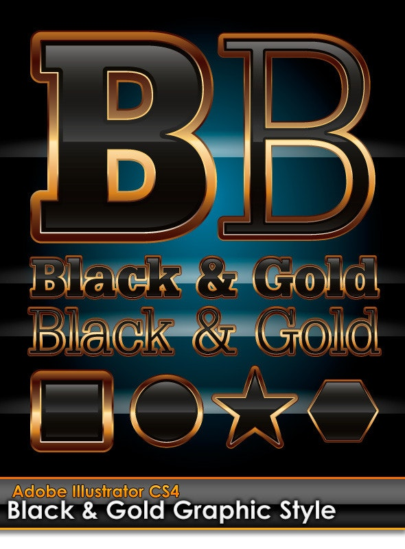 Black & Gold Illustrator Graphic Style