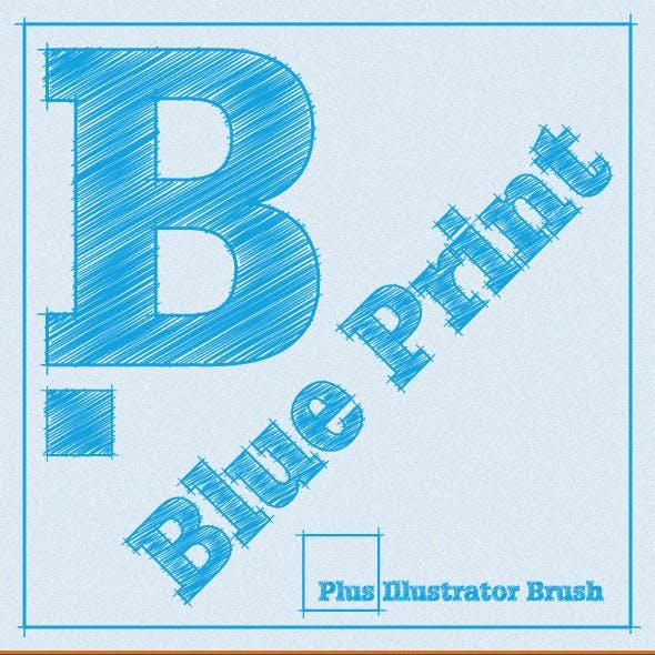 Blue Print Illustrator Graphic Style plus AI Brush