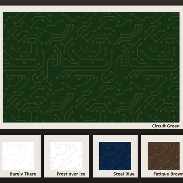 Seamless Circuit Board Pattern in 5 colors