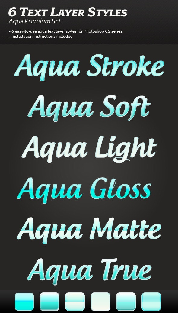 6 Aqua Text Layer Styles - Photoshop Add-ons