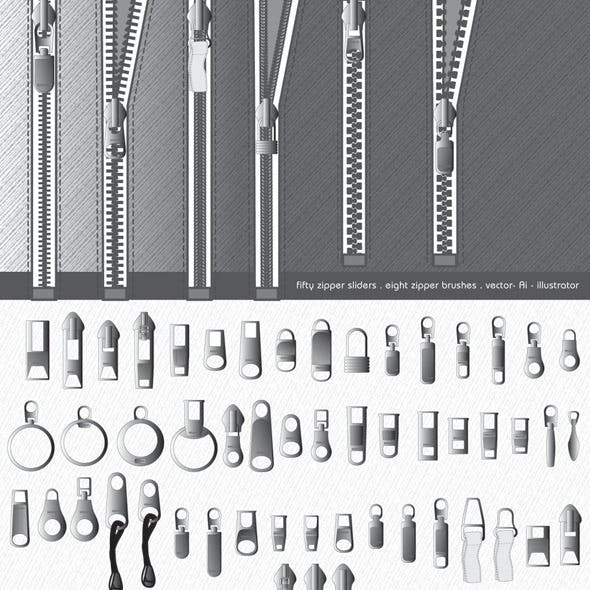 Zipper Brushes and Sliders - Illustrator