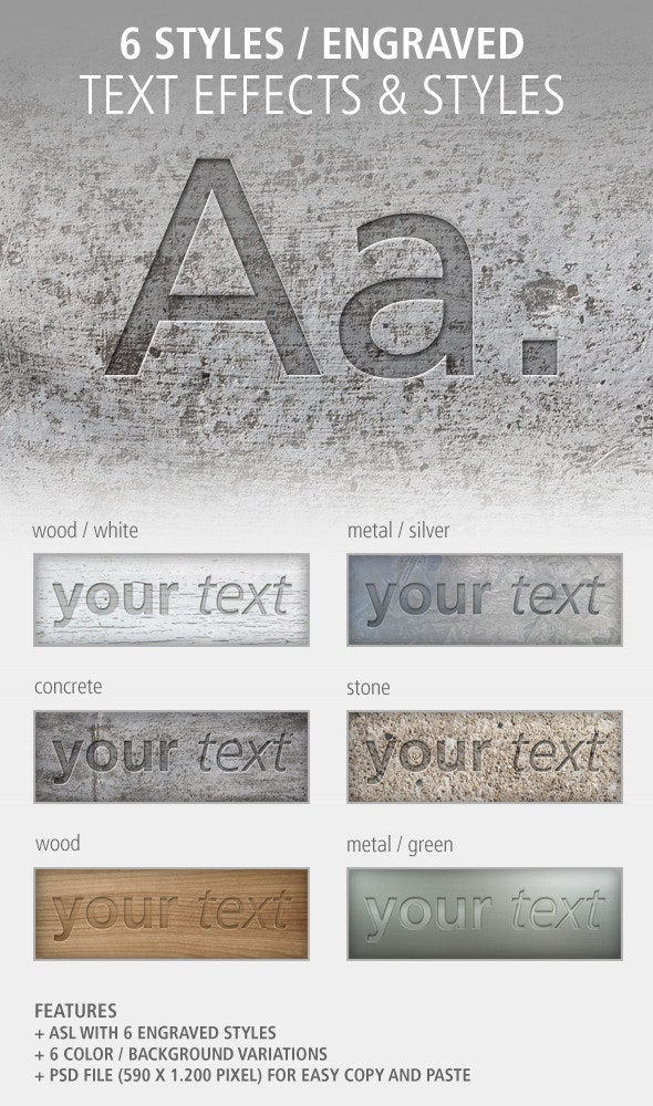 6 Text Effects and Styles: Engraved - Photoshop Add-ons