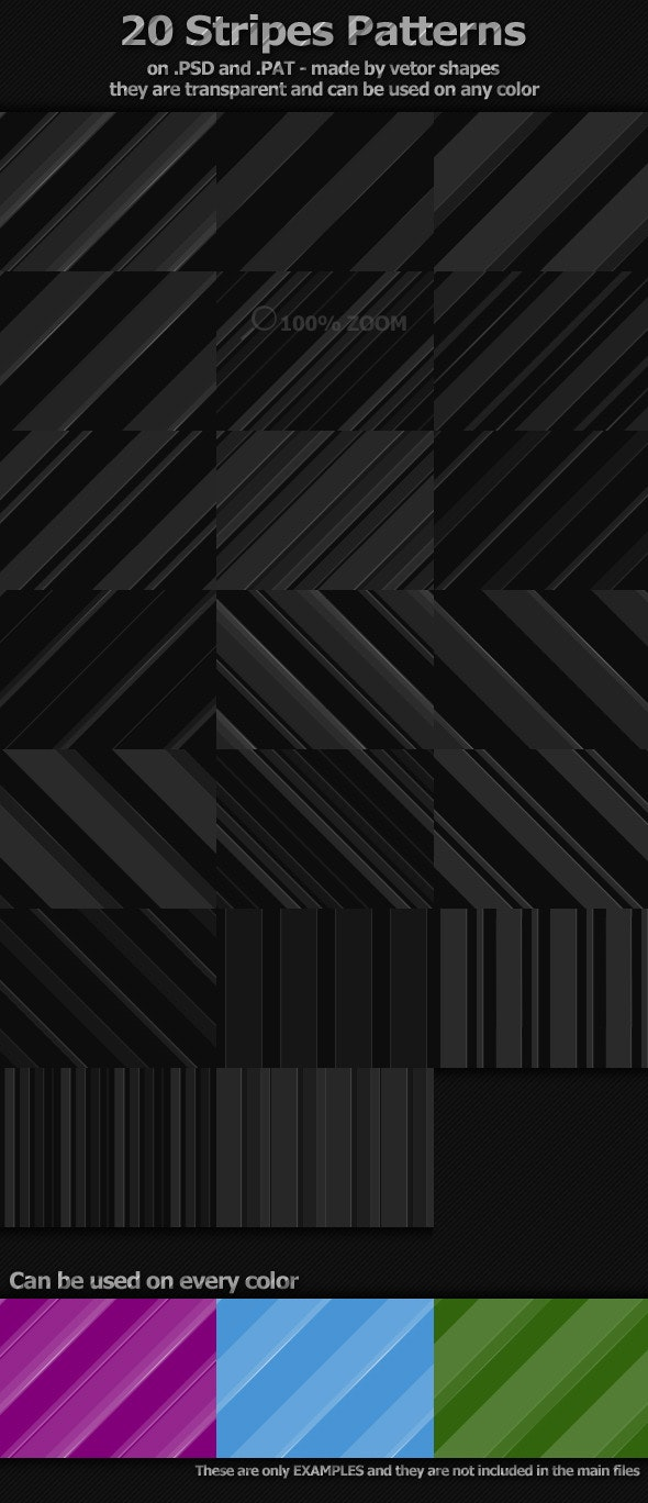 20 Stripes Patterns - Photoshop Add-ons