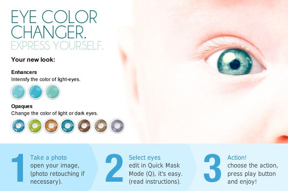 Eye color changer. PS ACTION. - Photo Effects Actions