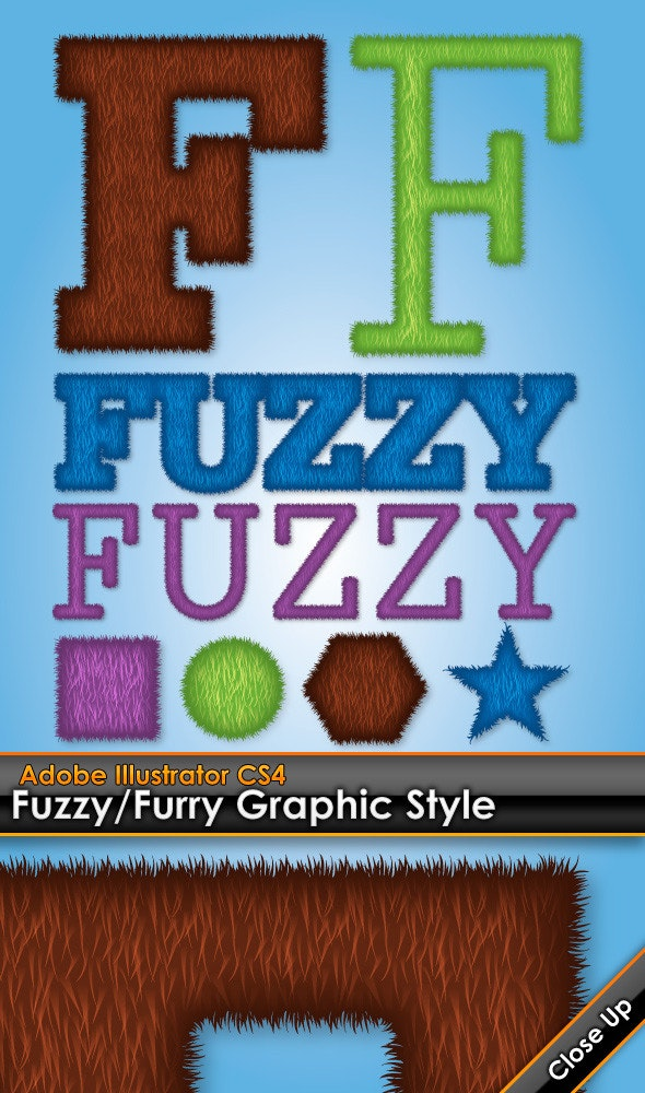 Fuzzy / Furry Illustrator Graphic Style - Styles Illustrator