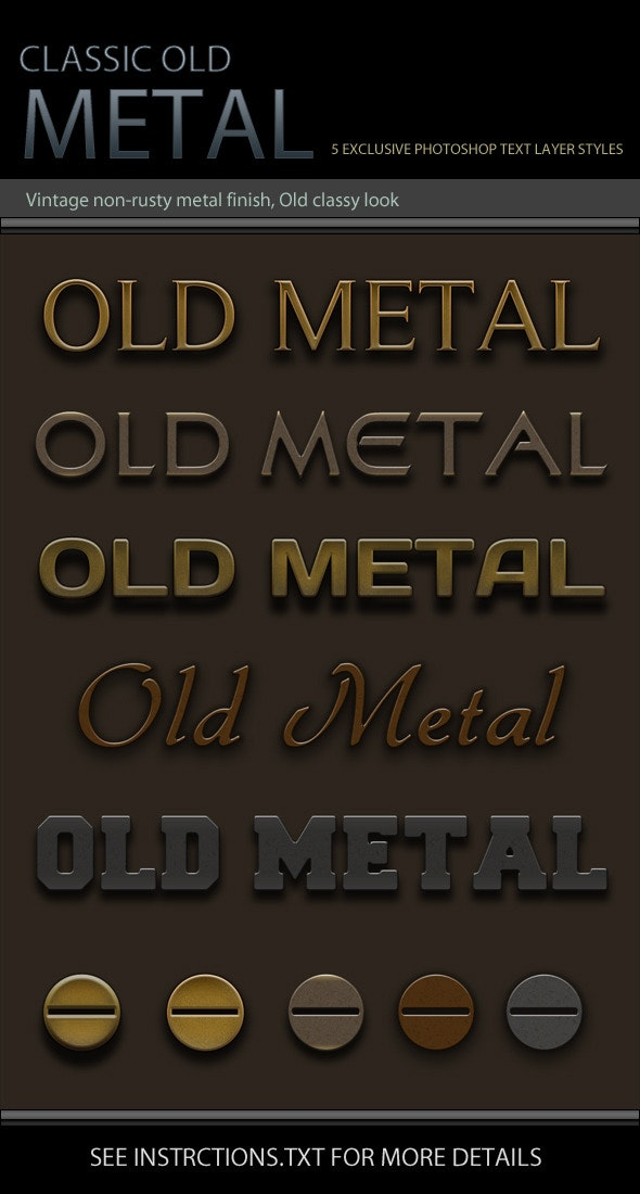 Classic Old Metal Text Effects and Layer Styles - Photoshop Add-ons