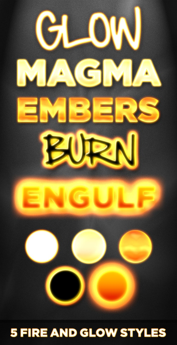 5 Fire and Glow Styles - Flame, Neon, and Burning - Photoshop Add-ons