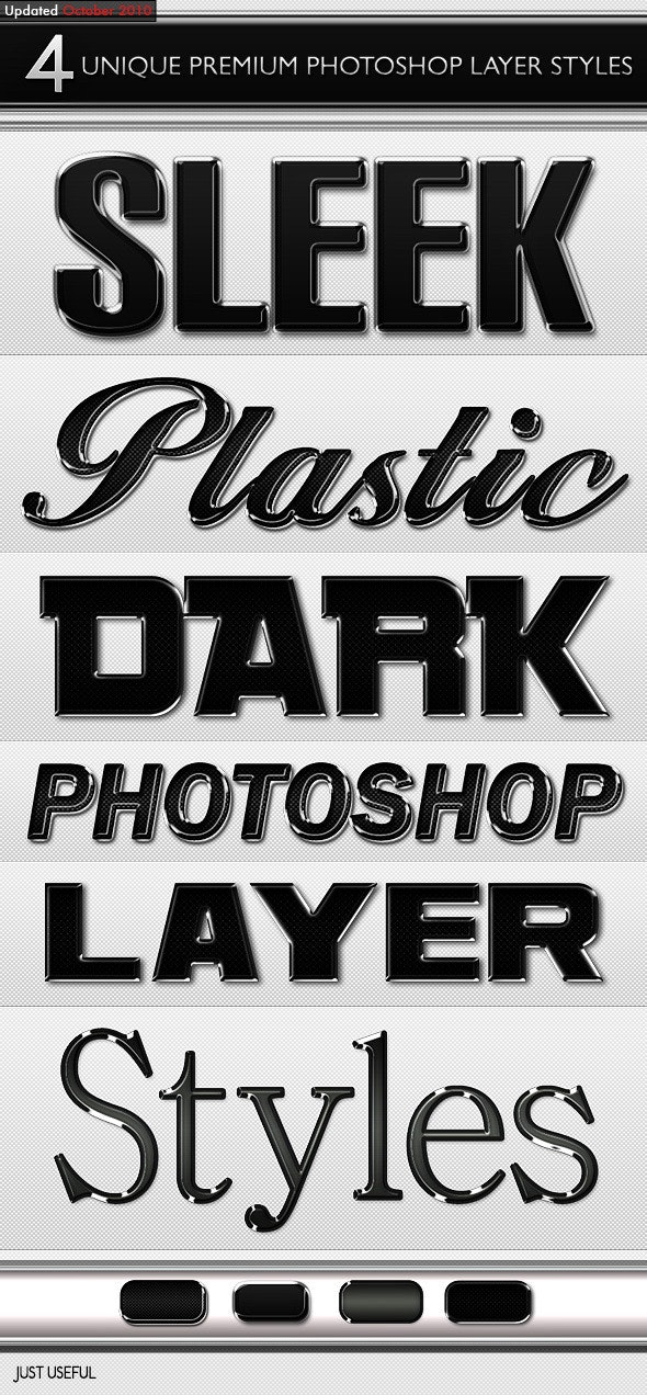 Black Sleek Layer Styles - Photoshop Add-ons