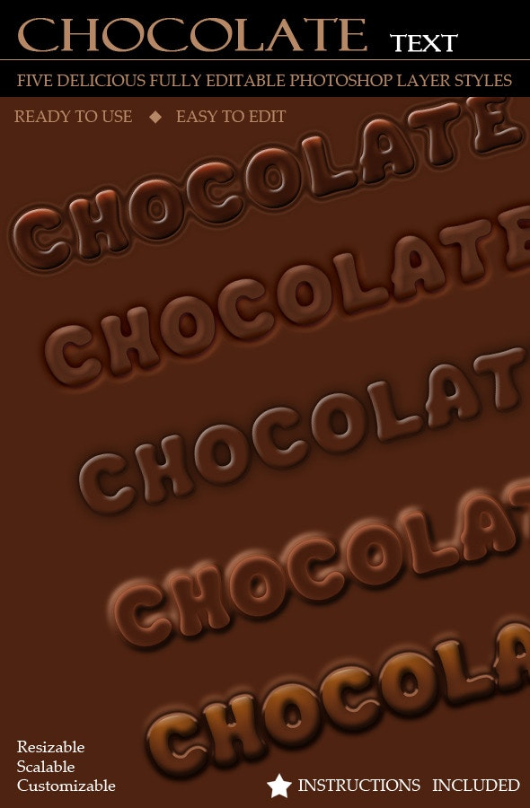 Delicious Chocolate Text (5 Layer Styles) - Photoshop Add-ons