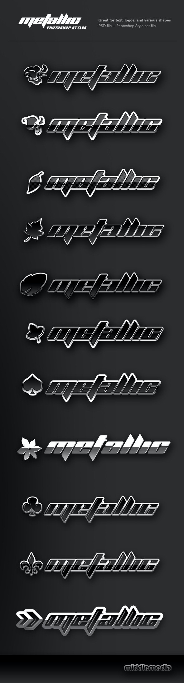 Metallic Chrome Photoshop Styles - Text Effects Styles