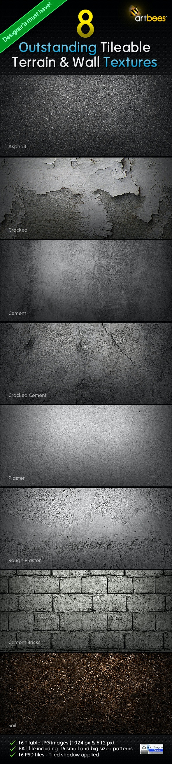 8 Tileable Terrain & Wall Textures - Textures / Fills / Patterns Photoshop