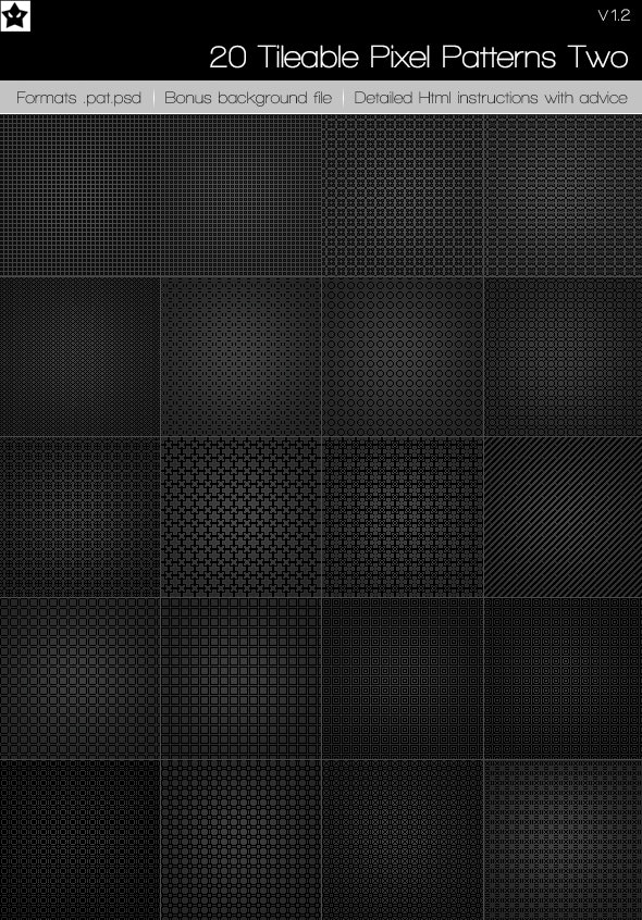 20 tileable pixel patterns 4 - Photoshop Add-ons