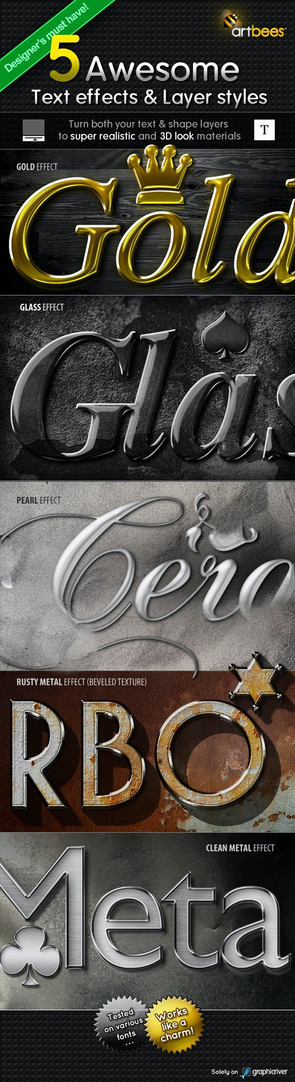 5 Text Effects & Layer Styles - Photoshop Add-ons