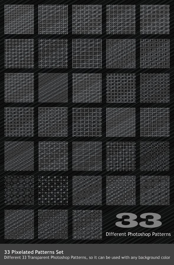33 Pixel Patterns Set - Photoshop Add-ons