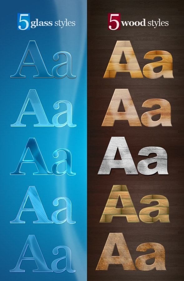 5 Glass & 5 Wood Text Styles - Text Effects Styles