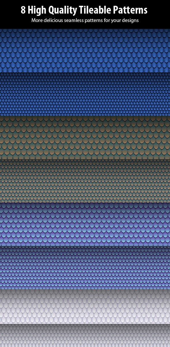 8 Seamless Squama Patterns - Miscellaneous Textures / Fills / Patterns