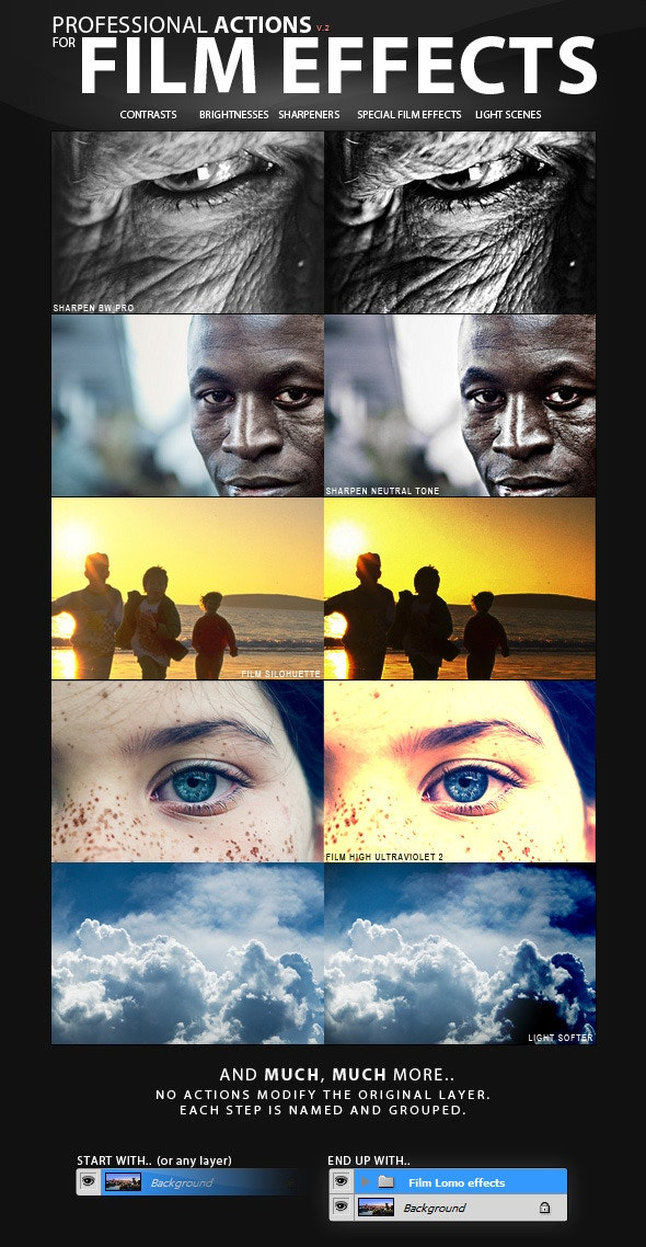 PRO Actions - 30 Film Effect Styles - Photo Effects Actions