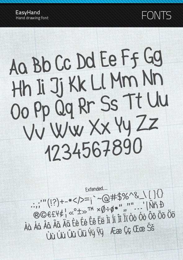 EasyHand - true type font - Hand-writing Script